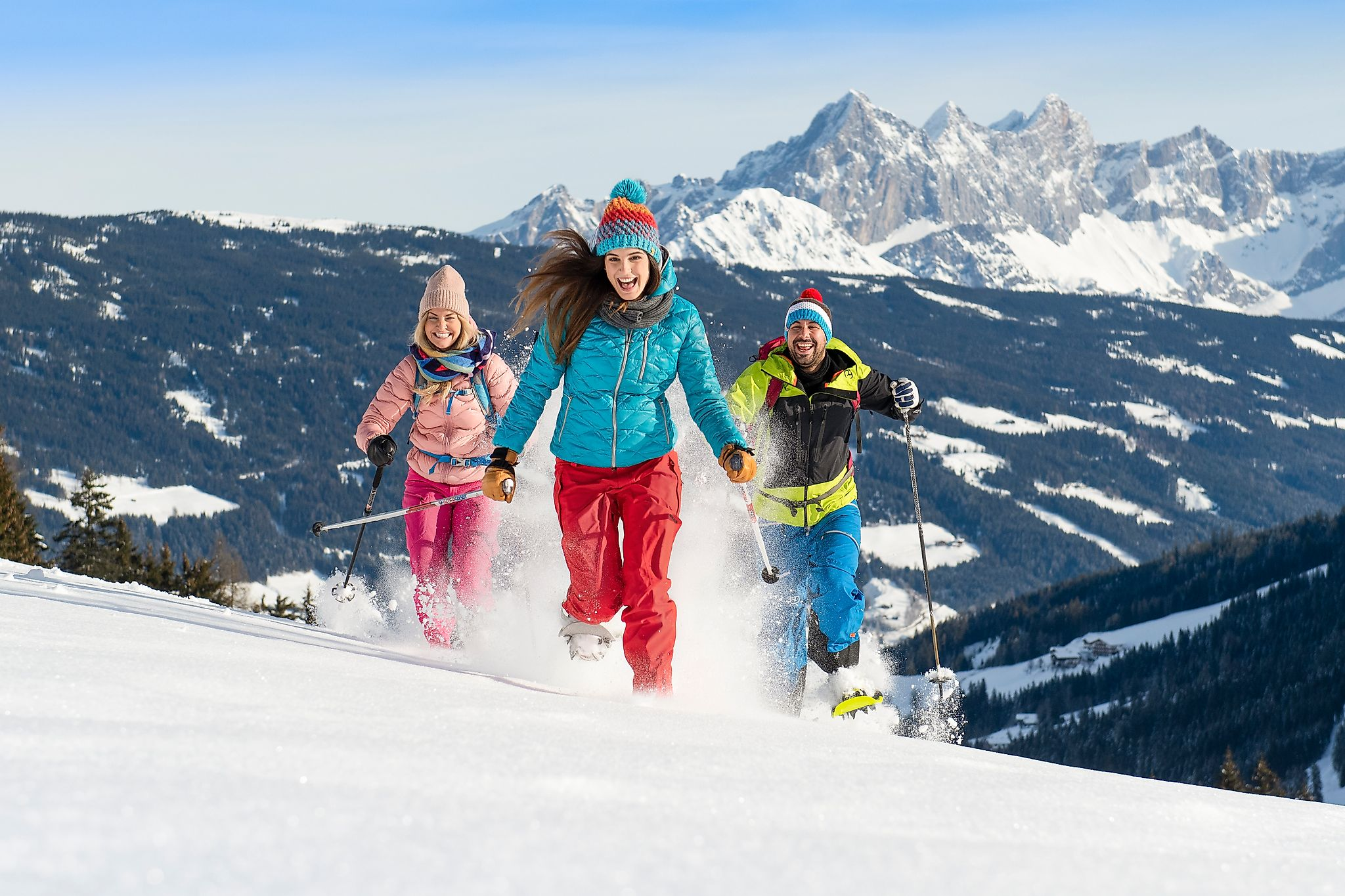 <p>A lot of fun walking with snowshoes through the snow-covered winter landscape.</p>