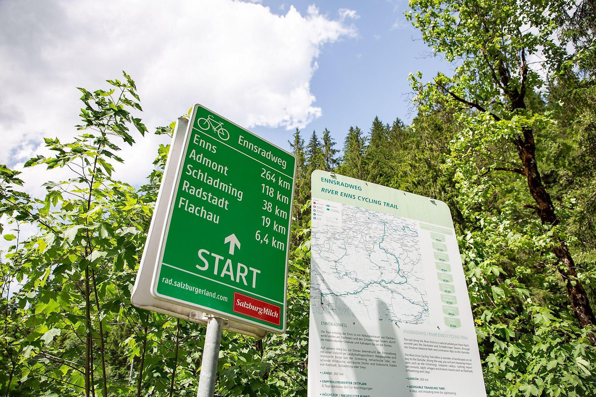 <p>Der Ennsradweg ist einer der Geheimtipps unter den österreichischen Flussradwegen. Start ist in Flachauwinkl.</p>